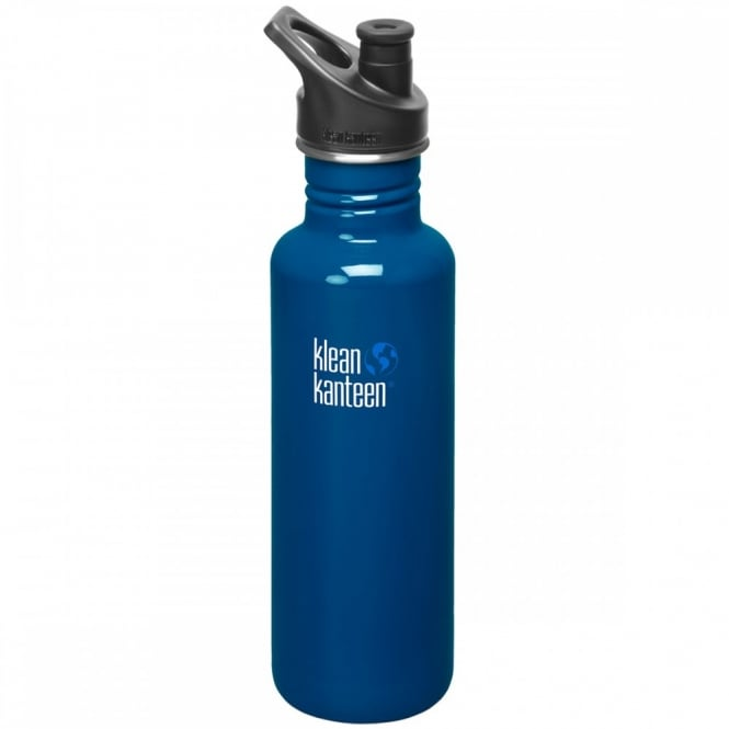 Klean Kanteen Classic 800ml Sports Cap Blue Planet, Stainless Steel Water Bottle great for on the move