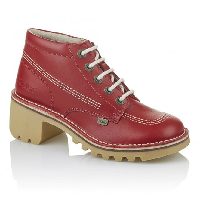 Kickers Kopey Hi Womens Red, Classic styling with a taller, girlier, glammer heel