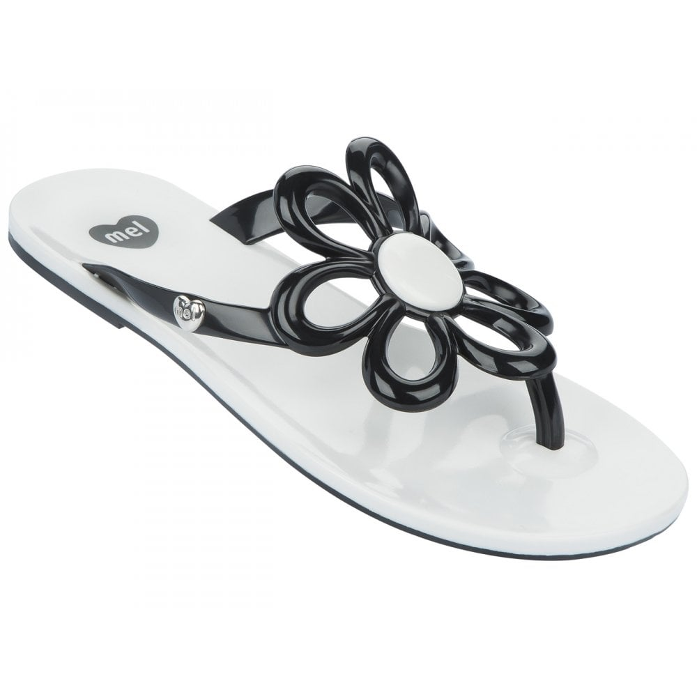 Mel Shoes Mel Flip Flops Flower Blackwhite Melflex Plastic For