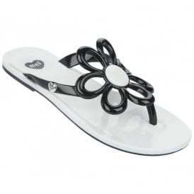 Mel Flip Flops Flower Black/White, melflex plastic for ultimate comfort