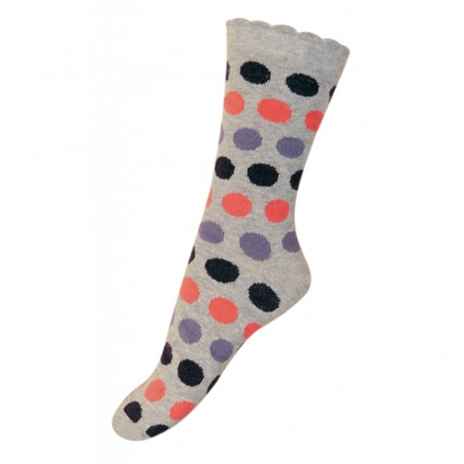 Melton Sock Dots Bubble 135 Light Grey Melange, Wave-shaped cuff for an irresistible look