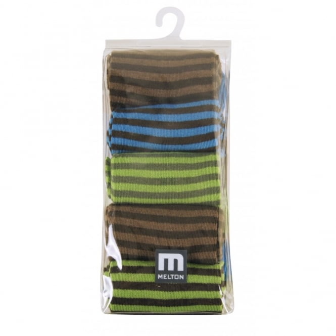 Melton Socks 5 Pack Stripes 219 Colbalt, Cosy cotton socks