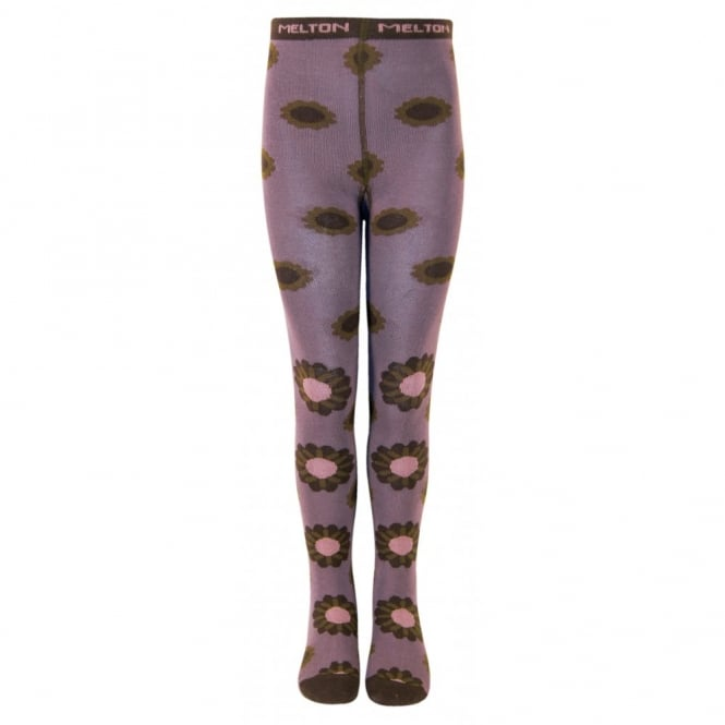 Melton Tights Autumn Flower 731 Dusty Purple, Soft and durable cotton tights