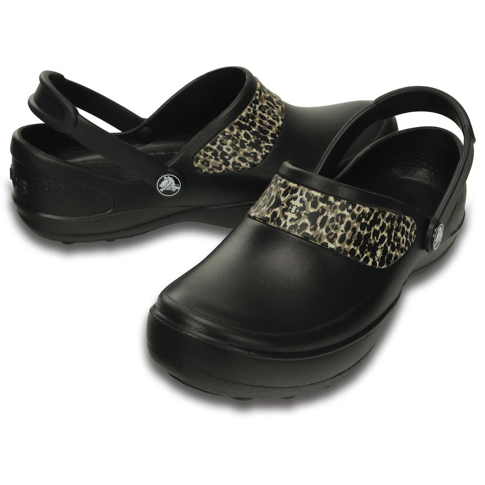 Cena hurtowa taniej autoryzowana strona Crocs Mercy Work Black/Gold, Fully molded Croslite clog, with Crocs Lock  non slip soles and back strap