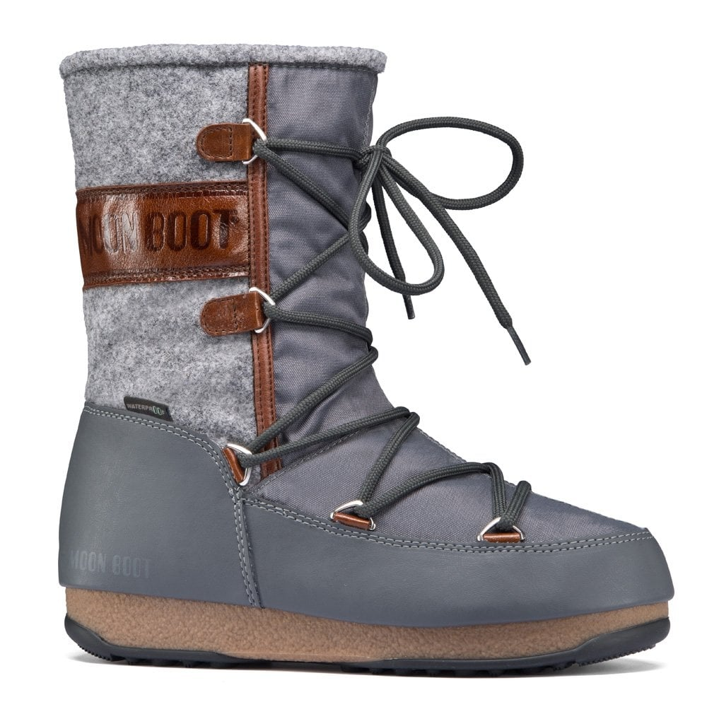 premium selection 658aa 1ba1c Moon Boots Vienna Felt Grey/Brown, Waterproof Iconic Boot
