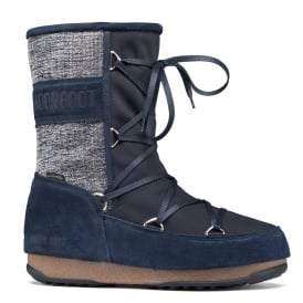 Moon Boots Vienna Mix Denim Blue, Waterproof Iconic Boot