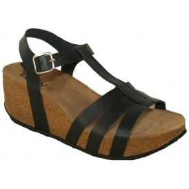 Oxygen Girona Black, Leather upper wedge sandal