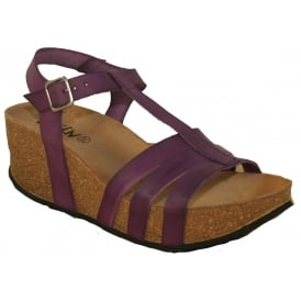 Oxygen Girona Lila Purple, Leather upper wedge sandal