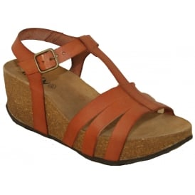 Oxygen Girona Tan, Leather upper wedge sandal