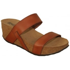 Oxygen Leon Tan, Leather upper wedge sandal