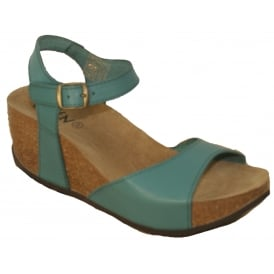 Oxygen Malaga Forest, full grain leather wedge sandal