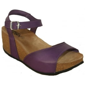 Oxygen Malaga Lila Purple, full grain leather wedge sandal
