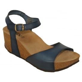 Oxygen Malaga Petrol, full grain leather wedge sandal
