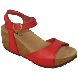 Oxygen Malaga Red, full grain leather wedge sandal
