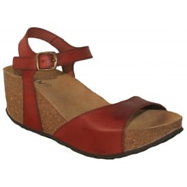 Oxygen Malaga Tan, full grain leather wedge sandal
