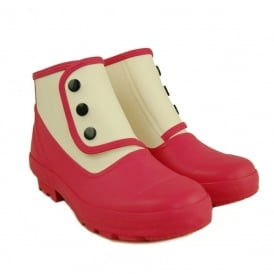 Spats Classic 2 tone Fuchsia/Antique White, Fully waterproof style led boot