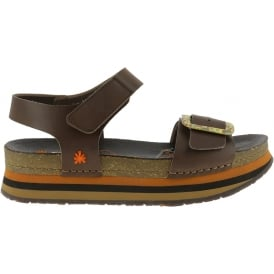 0459 Mykonos Sandal Brown, Buckle detailed leather uppers