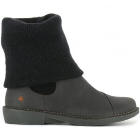 0848 Bergen Boot Black, slip on ankle boot with sock detail