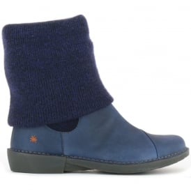 0848 Bergen Boot Blue, slip on ankle boot with sock detail