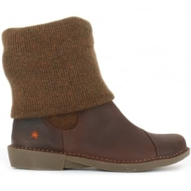 0848 Bergen Boot Brown, slip on ankle boot with sock detail