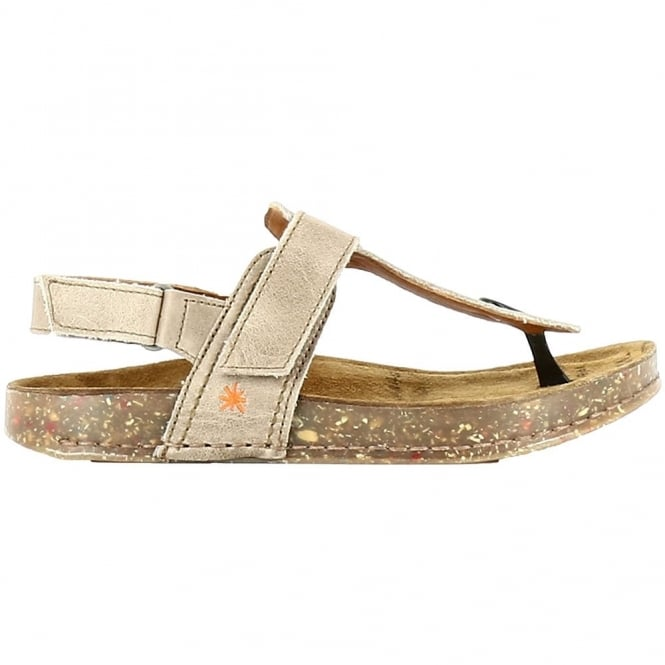 The Art Company 0865 We Walk Toe Post Gravel, leather toe post sandal with secure back strap