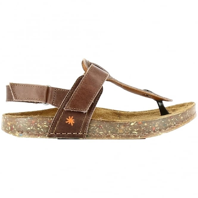 The Art Company 0865 We Walk Toe Post Moka, leather toe post sandal with secure back strap
