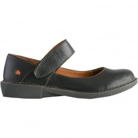 0916 Bergen MJ Shoe Black, leather flat with velcro fastening