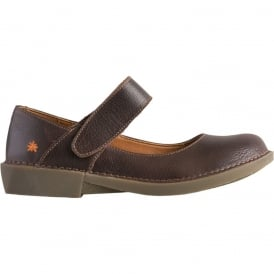 0916 Bergen MJ Shoe Moka, leather flat with velcro fastening