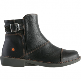 0917 Bergen Boot Black, zip up leather ankle boot with buckle detail
