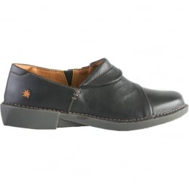 0919 Bergen Shoe Black, flat leather slip on