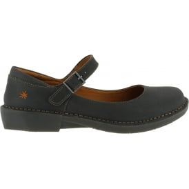 0929 Bergen Black, leather buckle ladies flat
