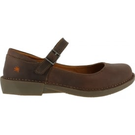 0929 Bergen Brown, leather buckle ladies flat