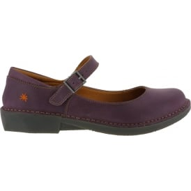 0929 Bergen Cerise, leather buckle ladies flat