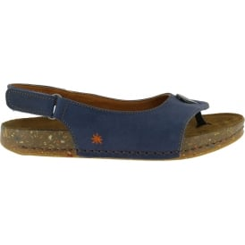 1007 We Walk Sandal Blue, leather toe post shoe