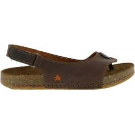 1007 We Walk Sandal Brown, leather toe post shoe