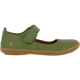 1293 Kio MJ Shoe Khaki Green, leather flat with velcro fastening