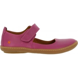 1293 Kio MJ Shoe Magenta, leather flat with velcro fastening