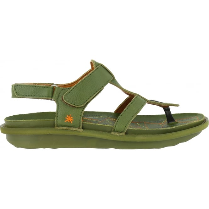 The Art Company 1300 I Explore Khaki Green, leather toe post sandal with adjustable strap