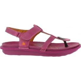 1300 I Explore Magenta, leather toe post sandal with adjustable strap