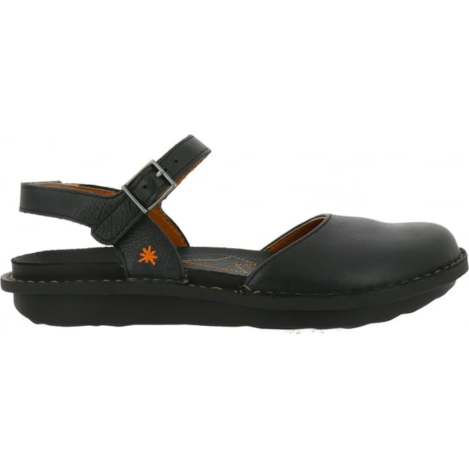 The Art Company 1301 I Explore Black, leather sandal with covered toe and adjustable buckle strap