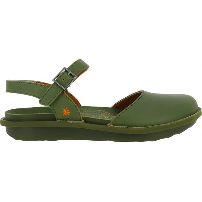 The Art Company 1301 I Explore Khaki Green, leather sandal with covered toe and adjustable buckle strap