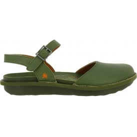 1301 I Explore Khaki Green, leather sandal with covered toe and adjustable buckle strap