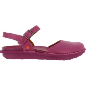 1301 I Explore Magenta, leather sandal with covered toe and adjustable buckle strap