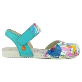 A275 Junior Paddle Clovers, Fun leather print sandal