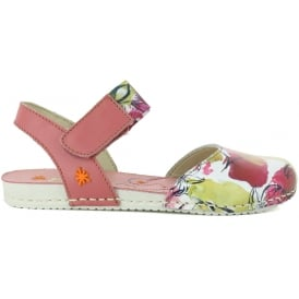 A275 Youth Paddle Flowers, Fun leather print sandal