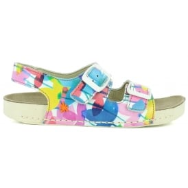 A437 Youth I-play Clovers, Printed leather Youth Sandal