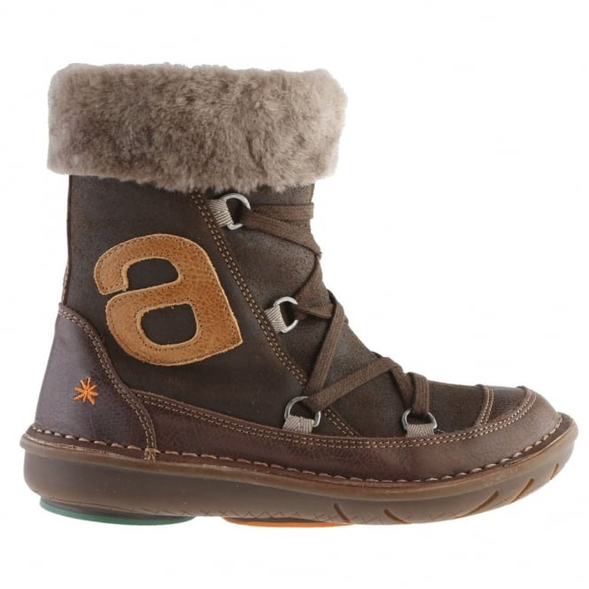 The Art Company A761 Junior Berlin Coffee, zip up ankle boot with criss-cross lace up detail