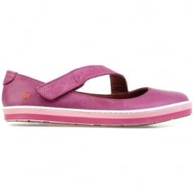 I Smile 0818 Gaucho Flat Magenta, leather flat with velcro fastening