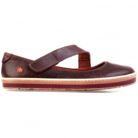 I Smile 0818 Gaucho Flat Moka, leather flat with velcro fastening