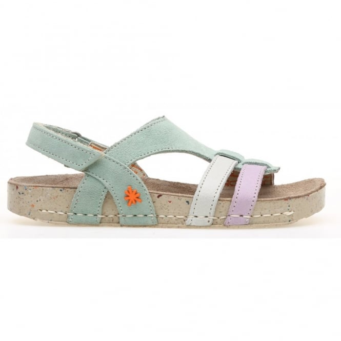 The Art Company Kids A428 I Play Lux Suede-Gaucho Mint, suede leather sandal